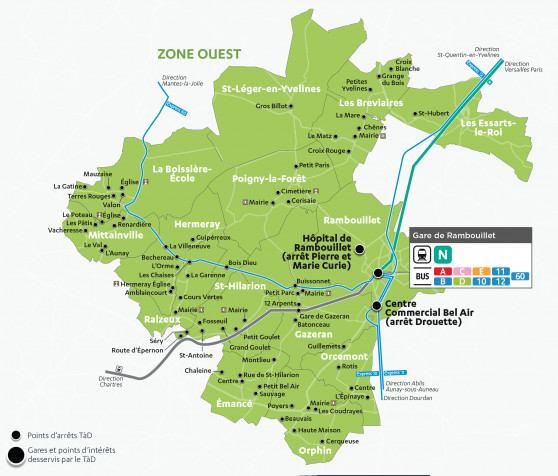 Carte - Transport à Demande Zone ouest